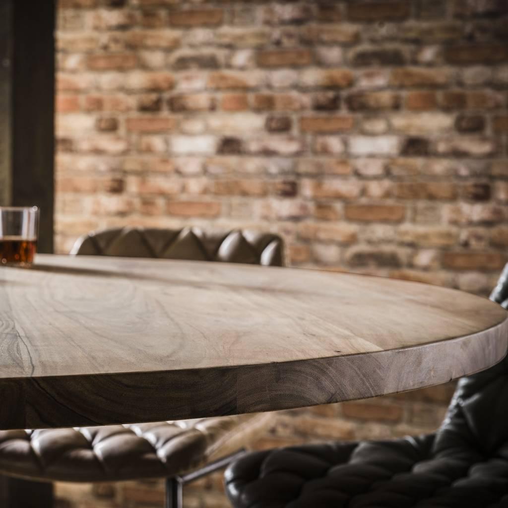 Duverger Massive - Eettafel - Ø120cm - in hoogte verstelbaar van 76 cm tot 92 cm - Massief acacia - naturel