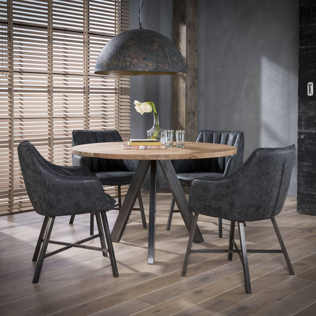 Duverger Stripes - Eetkamerfauteuils - set van 2 - Wax PU gestreept -  Zwart - stalen poten
