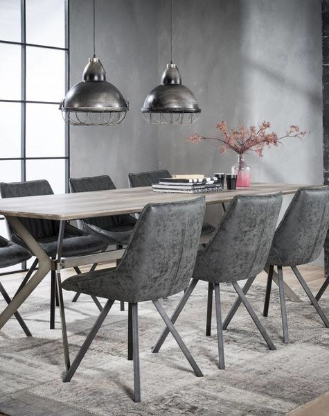Duverger Crossbar - Eettafel - 240x100cm - MDF- 3D eiken greywash - stalen onderstel met dwarsbalk