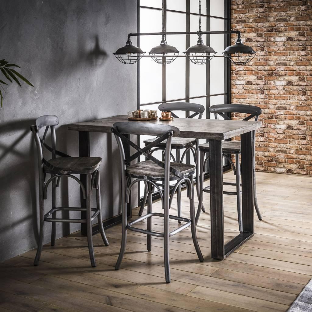 Duverger Ruf Grey Industry - Barstoelen - set van 2 - Massief mango - grijs
