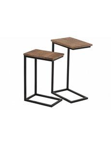 Duverger® Industry - Bijzettafels - set van 2 - zwart metalen frame - houten blad - naturel