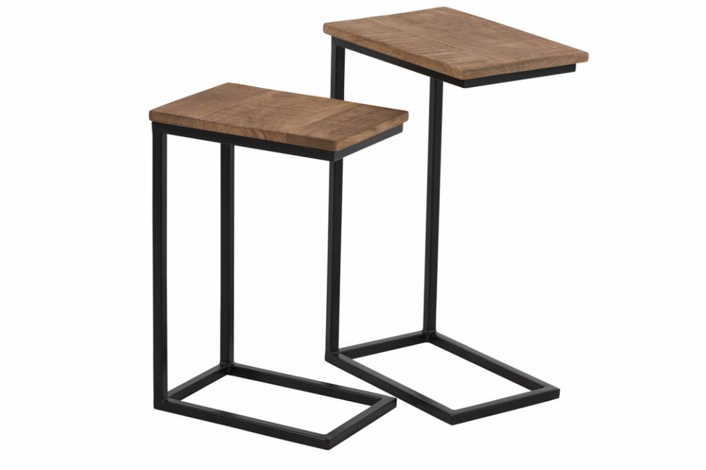 Duverger Industry - Bijzettafels - set van 2 - zwart metalen frame - houten blad - naturel