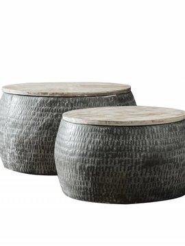 Duverger RETOUR ARTIKEL - Trommel - Salontafels - set van 2 - rond  -staal - gepatineerd massief mango blad - dia 50cm en 60cm