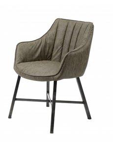 Duverger® Stripes - Eetkamerfauteuils - set van 2 - Wax PU gestreept -  Taupe - stalen poten