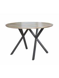 Duverger® Eettafel - rond -  dia 120 cm - eiken fineer antiquewash - zwart gepoedercoat metalen frame
