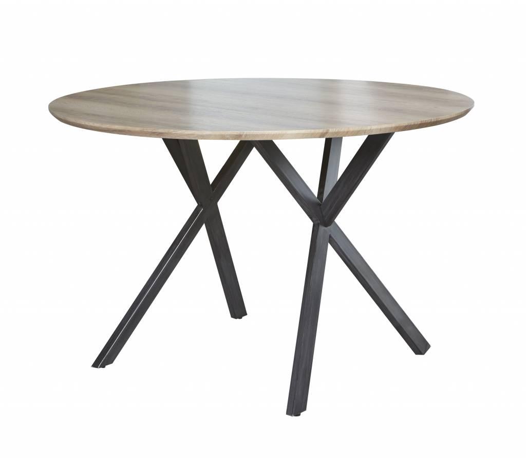 Duverger Eettafel - rond -  dia 120 cm - eiken fineer antiquewash - zwart gepoedercoat metalen frame