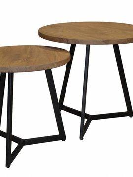Duverger Industry - Bijzettafels - set van 2 - naturel acaciahout - zwart gepoedercoat frame - 50x45cm