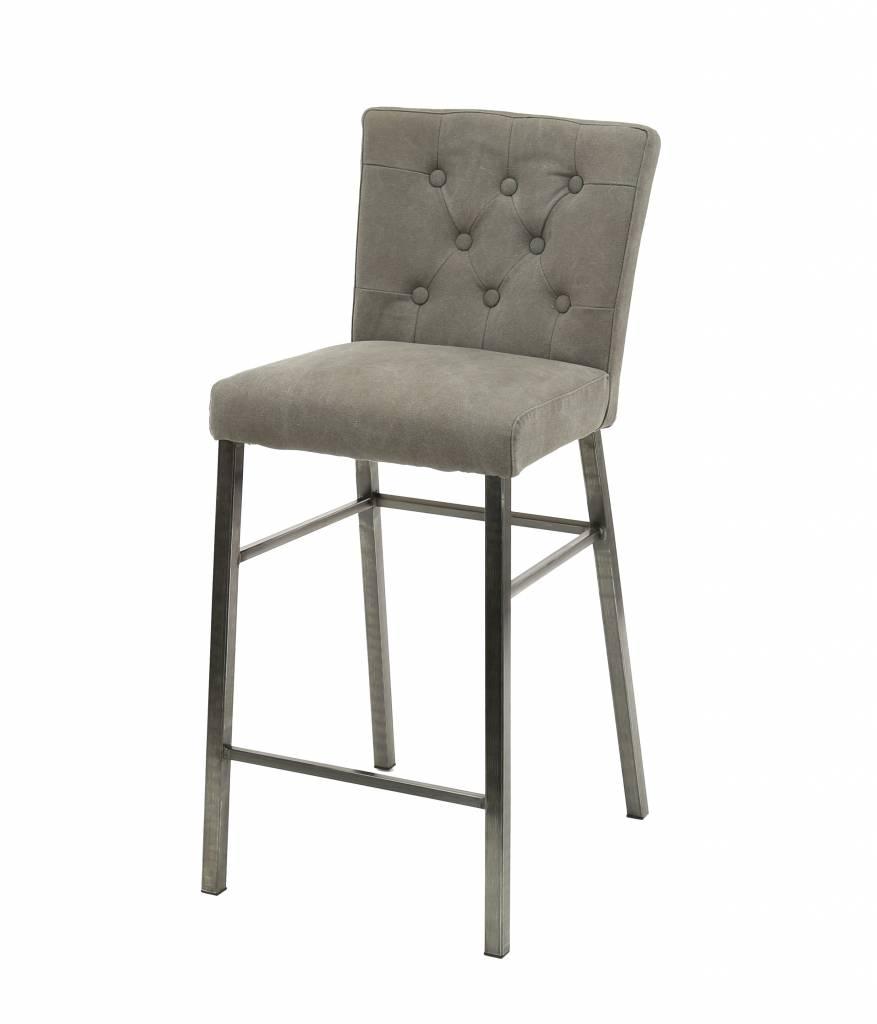 Duverger Jeans -Barstoelen - set van 2 - met rugleuning - grijs antraciet - curves gecapitonneerd - RVS onderstel