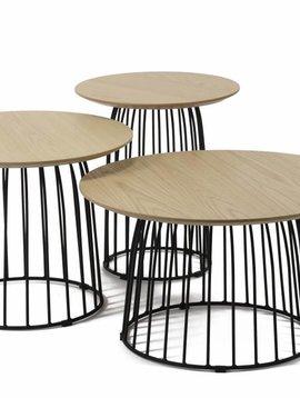 Duverger Pure Sandinavian - Salontafel - set van 3 - MDF blad eiken fineer - metalen spijlen - 60x35cm