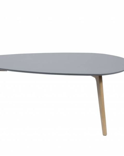 Duverger Vintage salontafel met afgerond driehoekig plateau in grijs en eiken onderstel 100X50
