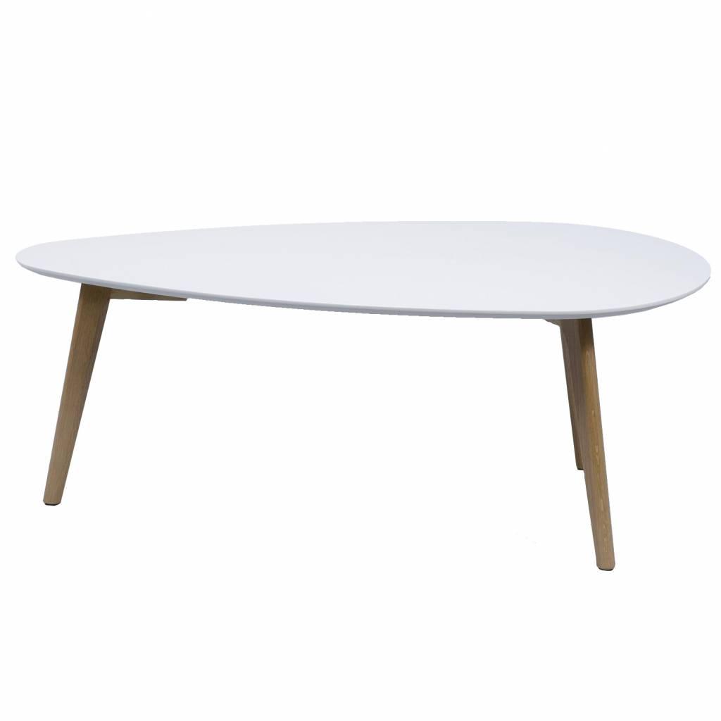 Duverger Vintage salontafel met afgerond driehoekig plateau in wit en eiken onderstel 100X50