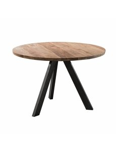 Duverger® Massive - Eettafel - Ø135cm - Massief acacia  -naturel - zwarte driepoot - RVS