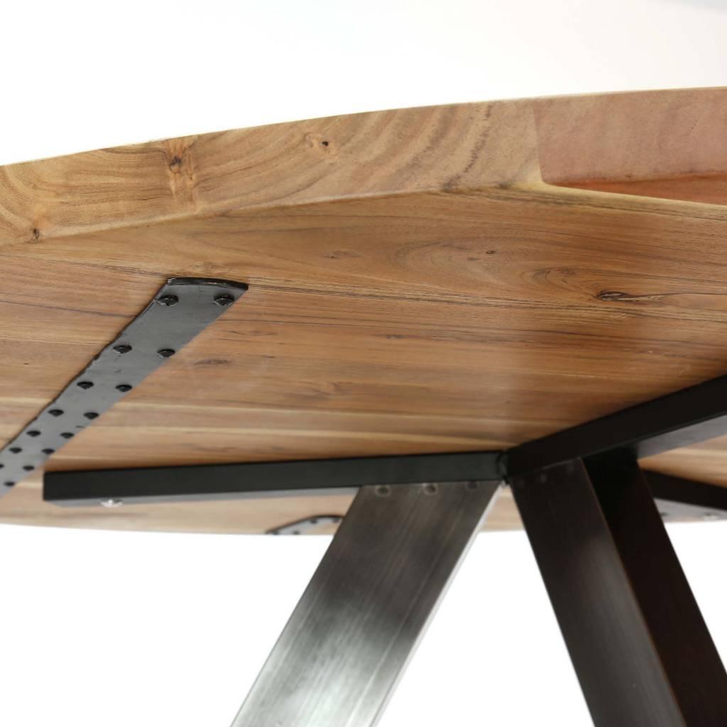Duverger Eettafel - rond dia 120cm - 38mm dik massief acacia blad - 3-poots kruisframe - zwart geschuurd RVS
