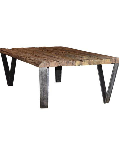 Duverger Recycled - Salontafel - rechthoekig - 135x75cm - gerecycleerd hardhout - smeedijzeren V-poten