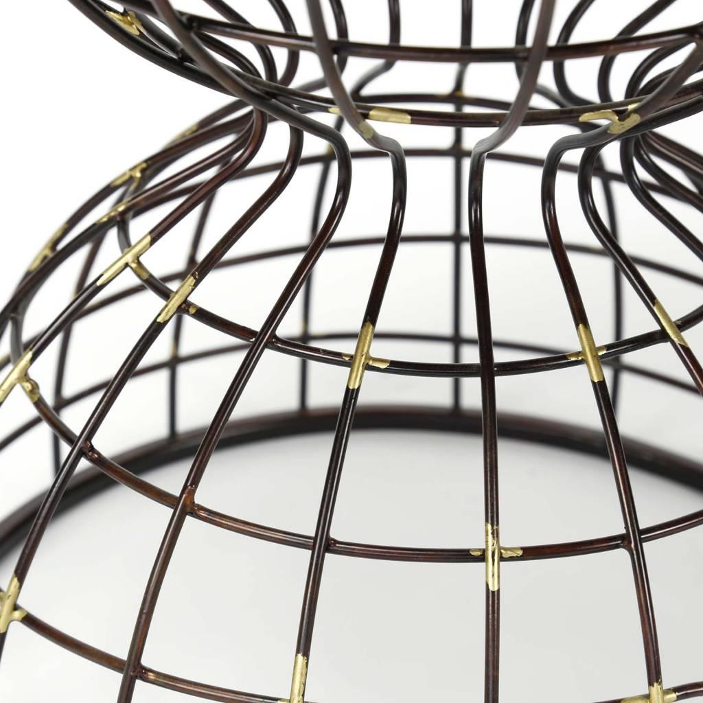 Duverger Wire - Bijzettafel - rond - Ø36cm - houten blad - onderstel metaaldraad - antiek koper finish