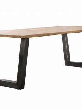 Duverger Massive - Eettafel 200 - massief acacia stamhout - 38mm dik - trapezium-vormig frame - zwart geschuurd RVS - 200x100x77cm
