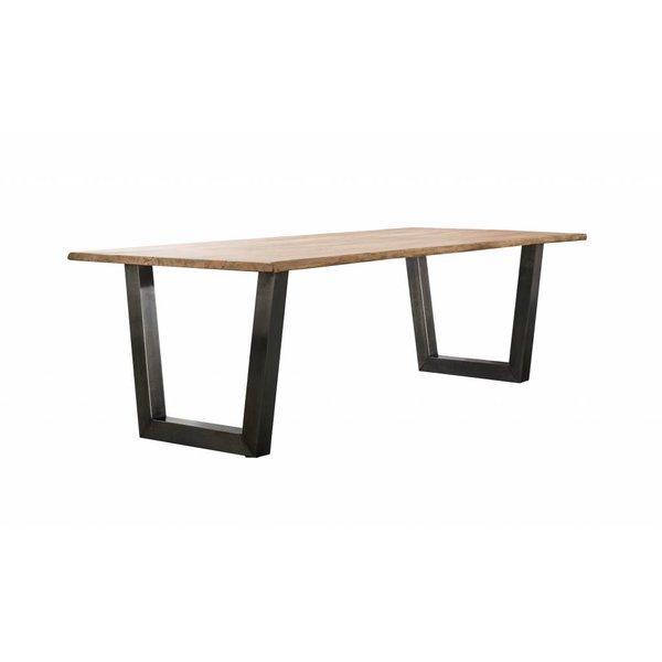 Duverger® Massive - Eettafel 240 - massief acacia stamhout - 38mm dik - trapezium-vormig frame - zwart geschuurd RVS - 240x100x77cm
