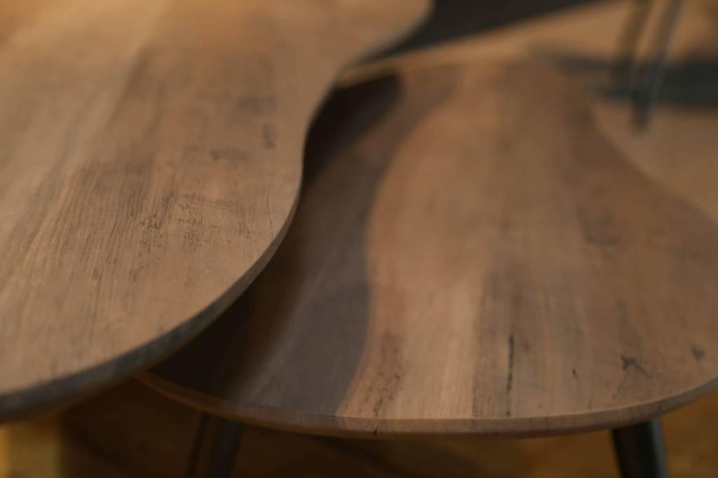 Duverger Salontafels - set van 2 - niervormig - eik - greywash - driepoot