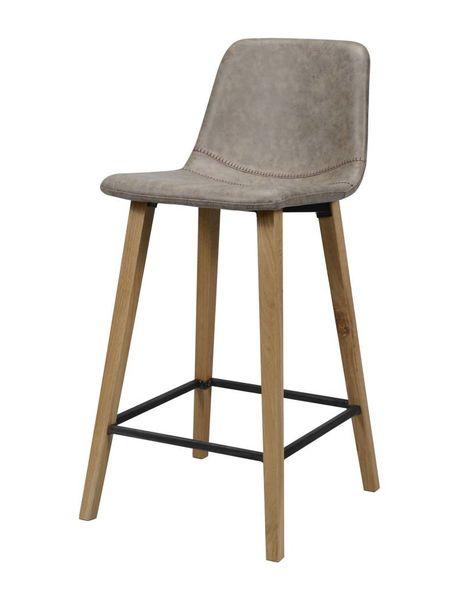 Duverger Wax PU - Barstoelen - set van 4 - bruin - zig-zag stiknaad - vierkante poten - hout