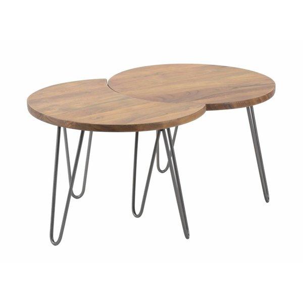 Duverger® Massive - Salontafels - set van 2 - Ø60cm - Massief acacia - naturel