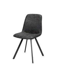 Duverger® Wax PU - Stoelen - set van 4 - kuip - zwart - poten platte buis-  zwart gepoedercoat - 45x55x86cm