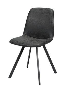 Duverger Wax PU - Stoelen - set van 4 - kuip - zwart - poten platte buis-  zwart gepoedercoat - 45x55x86cm
