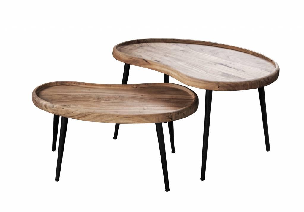 Duverger Massive Acacia - salontafels - set van 2 - niervormig - 70cm - metalen poten