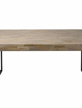 Duverger Mosaic - eettafel - rechthoekig - verweerd teakhout -L240cm - metalen frame