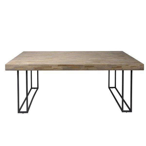 Duverger® Mosaic - eettafel - rechthoekig - verweerd teakhout -L240cm - metalen frame