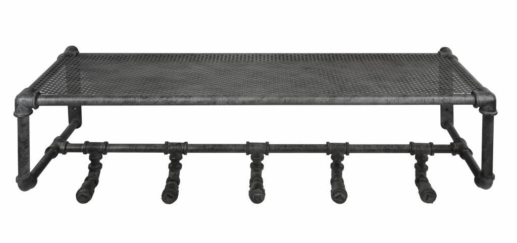 Duverger Plumber - kapstok - hoedenplank - industrial tubes - 5 haken - oud zilver