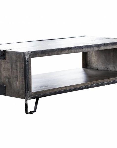 Duverger Ruf Grey Industry - Salontafel - open nis - mangohout - leem antiek - smeedijzer