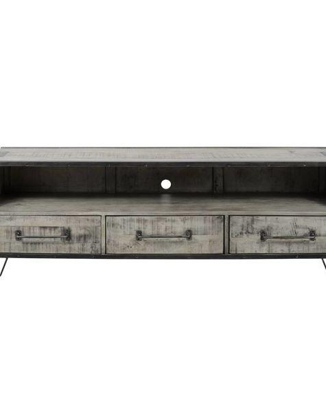 Duverger Ruf Grey Industry - TV-meubel - open nis - 3 lades - mangohout - leem antiek - smeedijzer