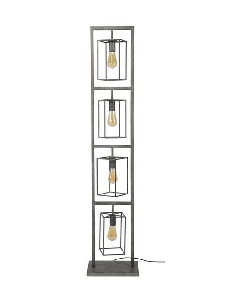 Duverger Cube - Vloerlamp toren - 4 stalen frames - vierkant - oud zilver - 4 lichtpunten