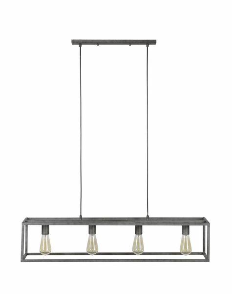 Duverger Cube - Hanglamp - stalen frame - rechthoek - oud zilver - 4 lichtpunten