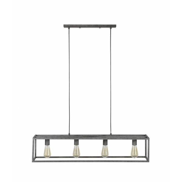 Duverger Cube - Hanglamp - stalen frame - rechthoek - oud zilver - met 4 LED lichtbronnen 8450/39A