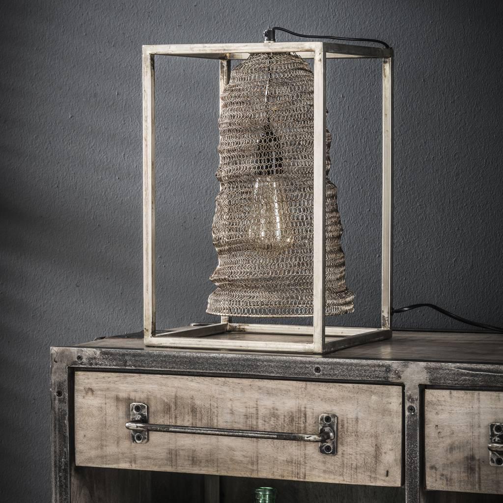 Duverger Mail - Tafellamp - geweven metaaldraad - hangend in stalen frame - antiek nikkel