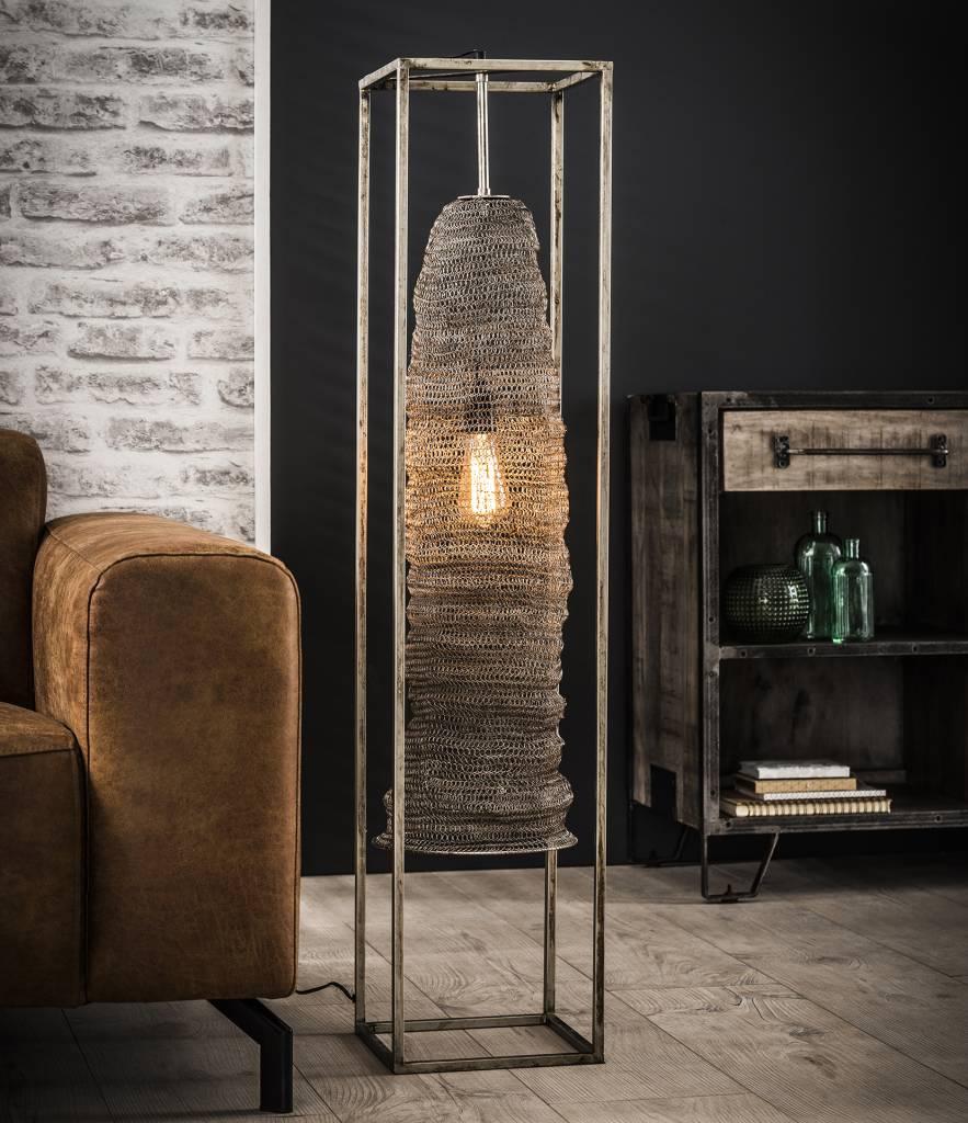 Duverger Mail - Vloerlamp - geweven metaaldraad - hangend in stalen frame - antiek nikkel