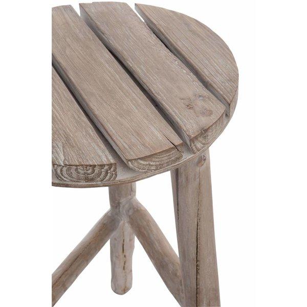 Duverger® Nature - Kruk - rond - hout - white wash