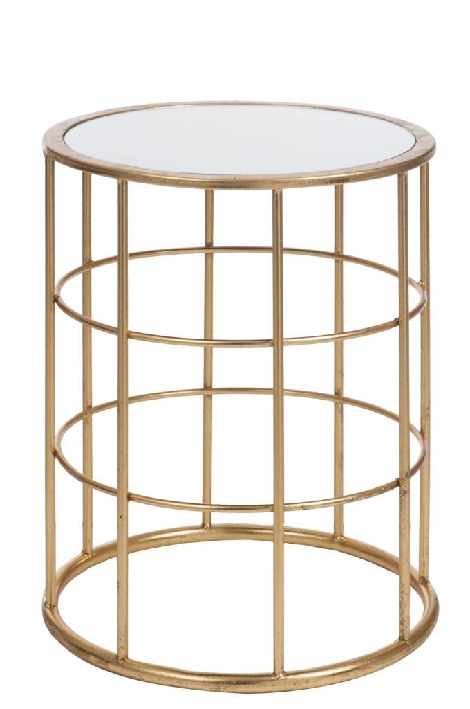 Duverger Gold - Bijzettafel - rond  - wit glazen blad - metalen frame - goudkleurig