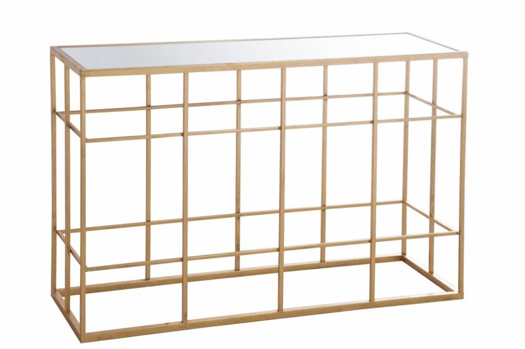 Duverger Gold - Sidetable - rechthoekig  - wit glazen blad - metalen frame - goudkleurig