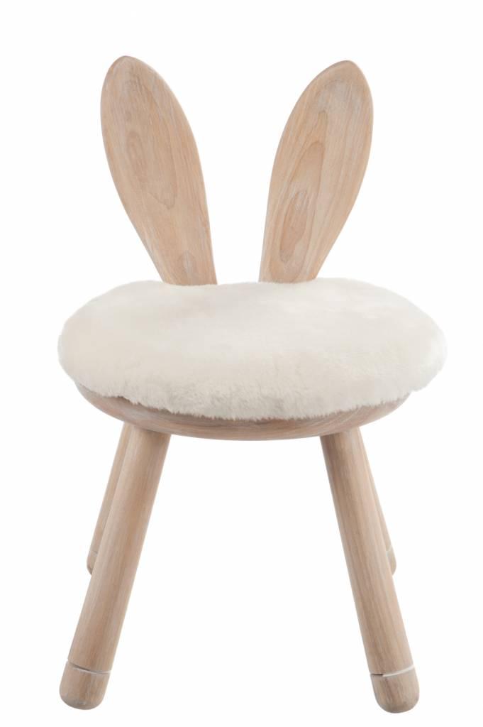 Duverger Rabbit - Kruk - met konijn oren - rond - hout - naturel