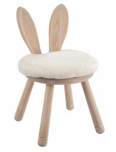 Duverger® Rabbit - Kruk - met konijn oren - rond - hout - naturel