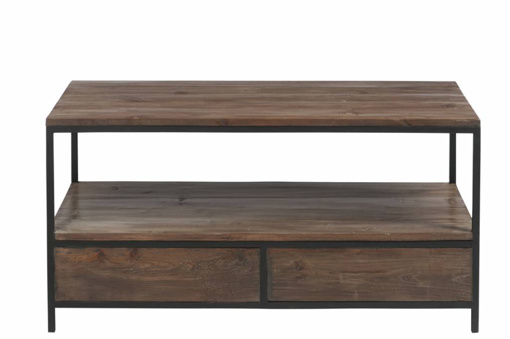 Duverger Industry - Salontafel - rechthoekig - hout - metalen frame - 2 laden