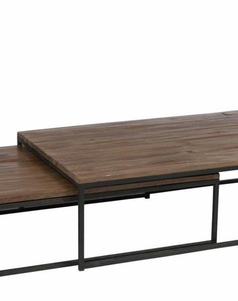 Duverger Industry - Salontafel - set van 2 - rechthoekig - hout - metalen frame - inschuifbaar