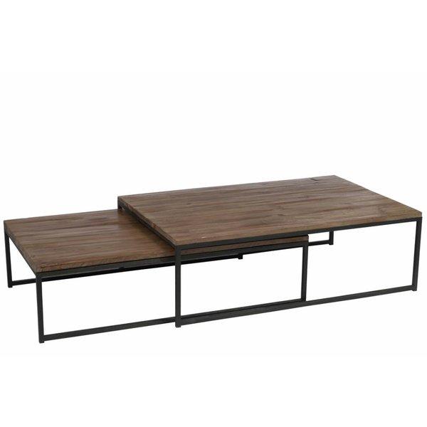 Duverger® Industry - Salontafel - set van 2 - rechthoekig - hout - metalen frame - inschuifbaar