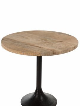Duverger Bistro - tafel - rond - houten blad - naturel - metalen voet - zwart
