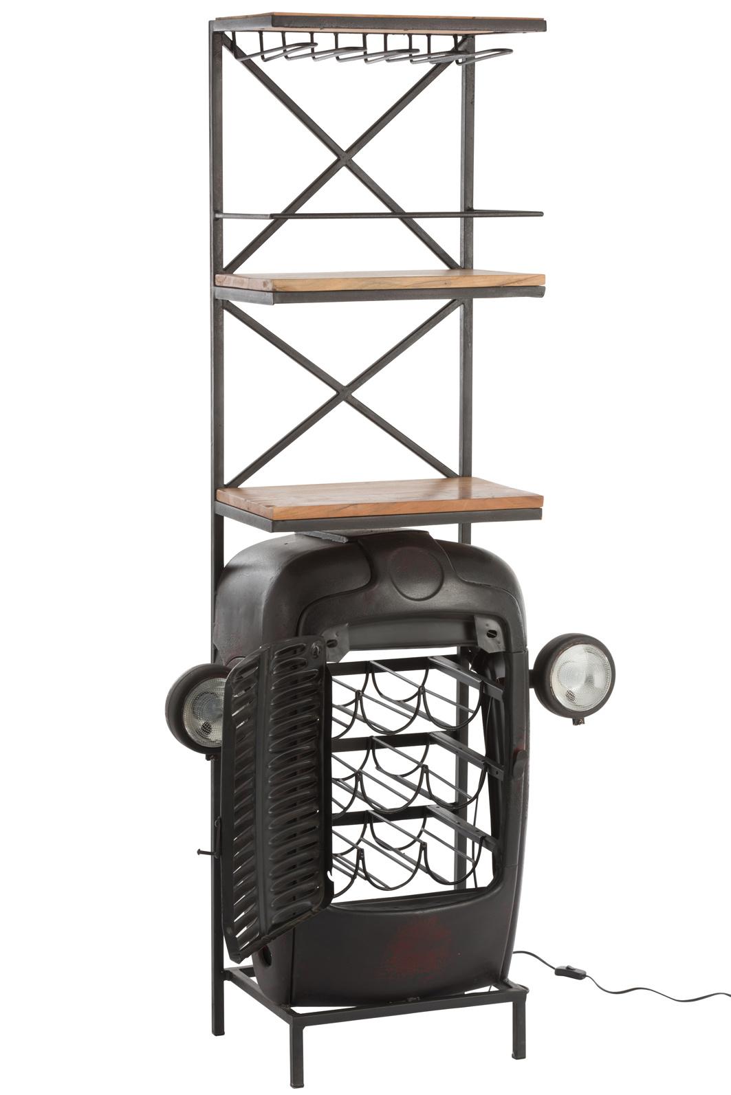 Duverger Tractor - Barmeubel - zwart - metaal - 3 houten leggers - ophangrek glazen