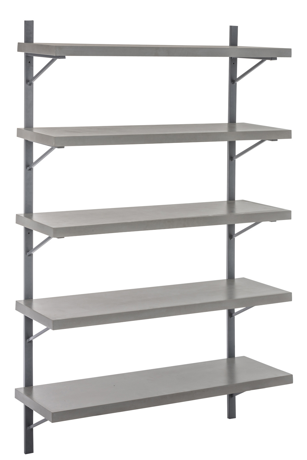 Duverger Industry Grey - Wandrek - 5 legplanken - grijs - hout - beton finish - metalen frame