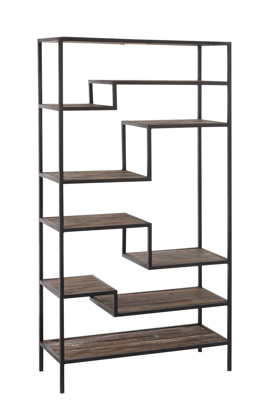 Duverger Industry - Rek - rechthoekig - 9 houten legborden - zwart - metalen frame