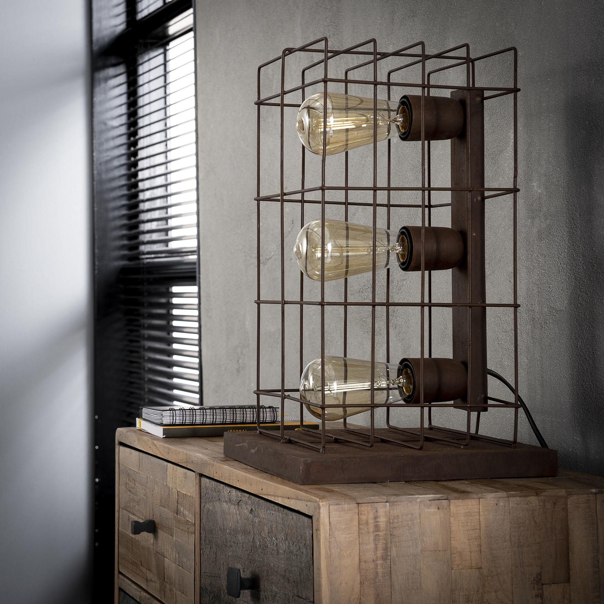 Duverger Cage - Tafellamp - metalen kooi - 3 lichtpunten - roestbruin